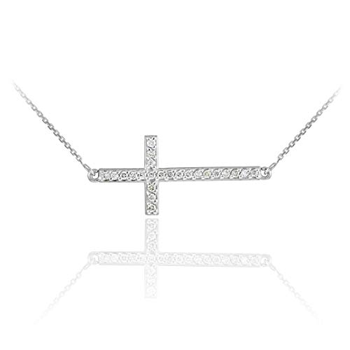 14 ct White Gold Sideways Diamond Cross Pendant Necklace Necklace (Available Chain Length 16'- 18'- 20'- 22') A