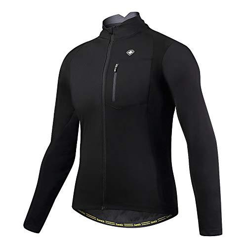 Santic Bike Winter Jacket Windproof Fleece Thermal Warm UP Cycling Bicycle Jerseys Long Sleeves Black