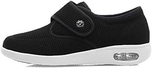 Youyun Womens Diabetic Walking Shoes,Comfort for Seniors Elderly Woman Swollen Feet, Edema BL 7 Black