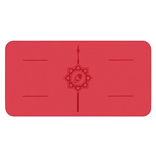 Liforme Yoga Pad - Esterilla de Yoga Antideslizante para Rodillas, Brazos y Codos - con Sistema Patentado De Alienación y Máximo Agarre - Colchoneta de Yoga Biodegradable - Edición Love - Rojo
