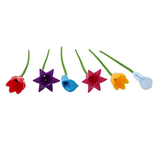 Bontannd 6 Piezas De Flores Partido Etiqueta Taza del Vino Marcador De Silicona Dedicado Cristal Copa del Reconocedor Herramientas para La Copa De Vino (Color Al Azar)