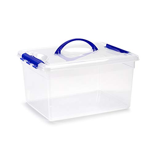 PLASTIC FORTE, Caja de almacenamiento, Transparente, 12 litros, con asa