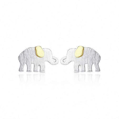 WYRKYP Pendientes S925 Pendientes de Plata Esterlina Elefante Simple Y Lindo Pendientes de Botón para Bebé Personalidad Temperamento Joyería Regalo para Mujeres Y Niñas