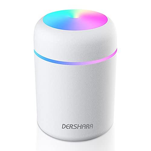 DERSHARA Humidificador Mini - Unidad de humidificación de Primera Calidad con Tanque de Agua de 300ml, Funcionamiento ultrasónico silencioso, Apagado automático y función de luz Nocturna (Blanco)