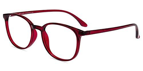 Firmoo Blaulichtfilter Lesebrille 2.0 Entspigelt für Damen Herren, Anti Blaulicht Lesehilfe Sehhilfe Brille, Eckige Gläser Lesebrille gegen Augen-/Kopfschmerzen Blendfrei Kratzfest (2.0x, Weinrot)