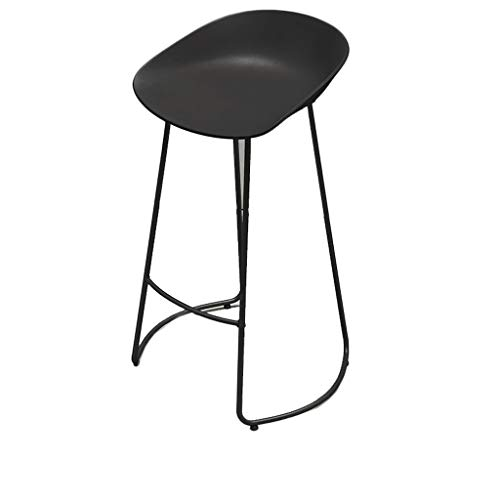 Xiao Jian-Xiao Jian- Stijlvolle barkruk, casual cafe hoge kruk, zwart/wit PP plastic stoel en smeedijzeren steigers, 65cm/70cm/75cm Barstoel XX-Large Zwart