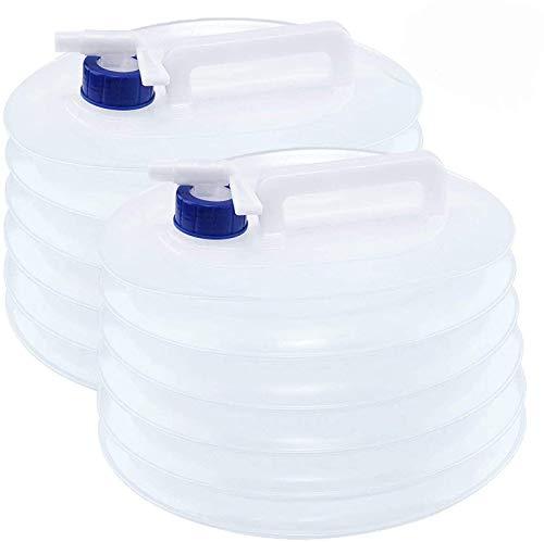 Tebery Récipient d'eau Pliable 2 X 10L, Transporteur d'eau de Camping Pliable portatif avec Robinet, Stockage de seaux de bidon en PE Non Toxique et Non Toxique