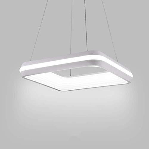 LED Cuadrado Anillo Techo Colgante luz Moderno Dormitorio Brillante araña Tricolor atenuación lámpara Colgante para Sala de Estar Comedor Sala de vestíbulo Blanco [Clase de energía A ++]