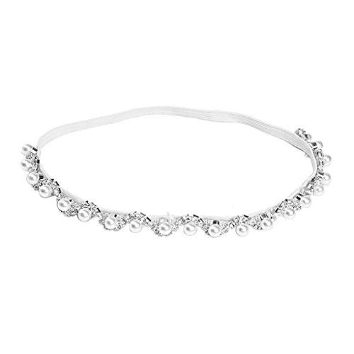 Manyo 1 Stück Funkelnde Perlen Stirnband für Neugeborenen - Baby Foto Requisiten, 38cm, Silber/Gold. (Silber)