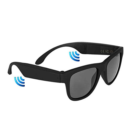 JINHU Conducción ósea Lentes Multifunción Bluetooth Auriculares Ciclismo Movimiento Gafas De Sol Polarizadas Adecuado para Movimiento Conducir, Black
