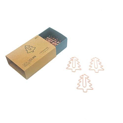 DESIGNMANUFAKTUR BERLIN GOLDCLIPS niedliche süße Deko Clips Büroklammern Heftklammern Lesezeichen Paperclip rose vergoldet in schöner Verpackung, Motiv Tannnenbaum/Weihnachtsbaum