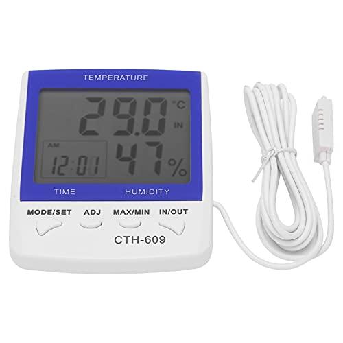 Les-Theresa Termómetro digital CTH-609 Higrómetro Medidor de humedad de temperatura montado en la pared para invernadero de granja doméstica