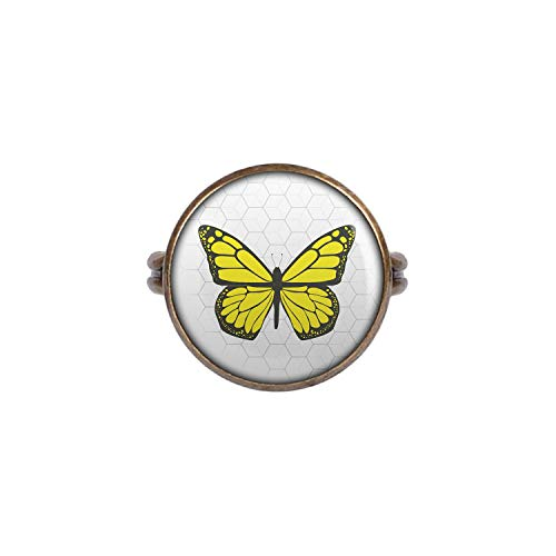 Mylery Ring mit Motiv Schmetterling Gelb bronze 16mm