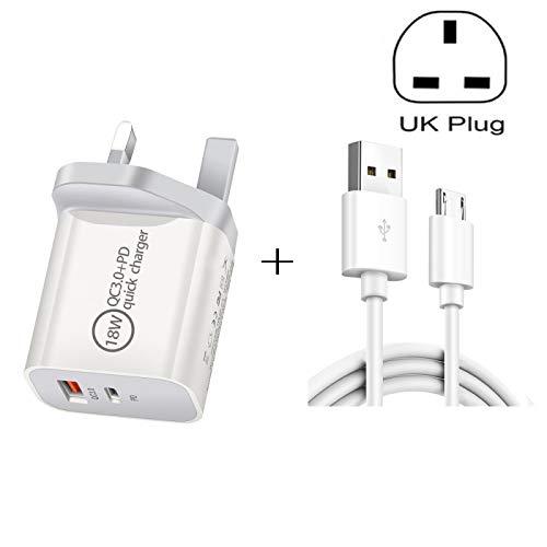 Cajas del teléfono SDC-18W 18W PD + QC 3.0 USB Cargador de viaje universal de doble carga rápida con USB a Micro USB Cable de carga rápida del USB, enchufe del Reino Unido Cajas del teléfono