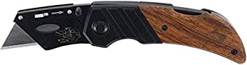 Husky 97211 Wood Handled Folding Sure-Grip Lock Back Utility Knife w/ 1 Disposable Blade Included