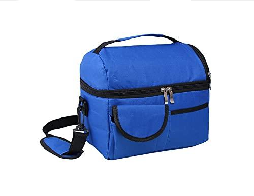 YULE Gran capacidad 8L aislada lonchera para hombres y mujeres de viaje portátil Camping Picnic bolsa de doble cubierta fría enfriador de alimentos bolsa térmica (color: azul profundo)