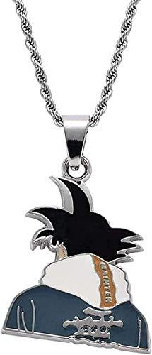 SHIERSHIYI Collar de Moda para Hombres Mujeres Hombres Hip Hop Dragon Ball Goku Collares Pendientes Moda Anime Figura Colgante Collar Joyería Regalos Colgante Collar Niñas Niños Regalo