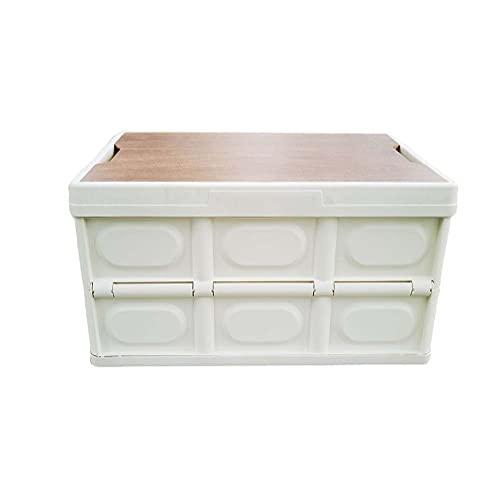 YunNasi Caja de Almacenamiento Plegable con Tapa Organizador de Maletero de Coche Caja de Almacenamiento Plegable para Acampar Caja de Almacenamiento para el hogar (56L, Blanco)