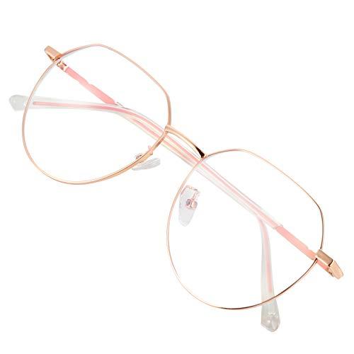EXCEART Óculos de bloqueio de luz azul olho de gato rosa armação de metal hipster armação de óculos feminina