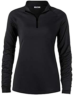 Cestyle Hiking Shirts Women, Ladies Sun Protective Clothes Long Sleeve Quick Dry Lightweight Outdoor Performance Vacation Running Workout Tops Relaxed Fit Black X-Large