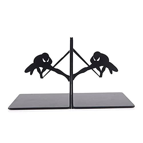 Sujetalibros Estanteria Spider Man Metal Desk Stands Bookend Holder Decoración del hogar Oficina Oficina Suministros Escolares Papelería Regalo Estudiantes Durable (Color : Black)