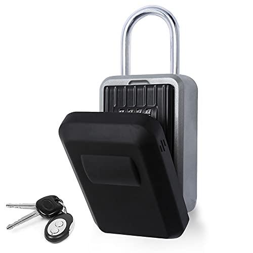 Clanmacy Schlüsseltresor, Schlüsselsafe mit zahlenschloss, Schlüsselkasten für aussen Innen Wandmontage wasserdicht mit Bügel,mit Wasserdichter Abdeckung