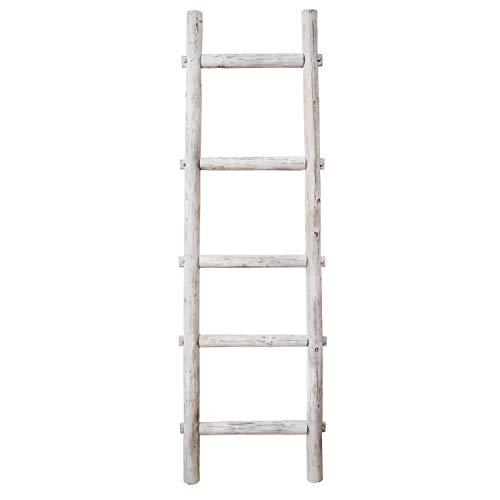 Blanket Ladder Wood Wall Ladder - Rustic Urban Ladder Blanket Rack - Industrial Towel Blanket Quilt Rack for Living Room and Bathroom