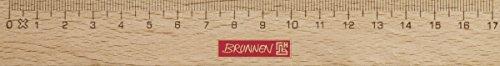 Brunnen 104974017 Lineal / Holzlineal (für Schule und Büro 17 cm, Buchenholz mit Metalleinlage)