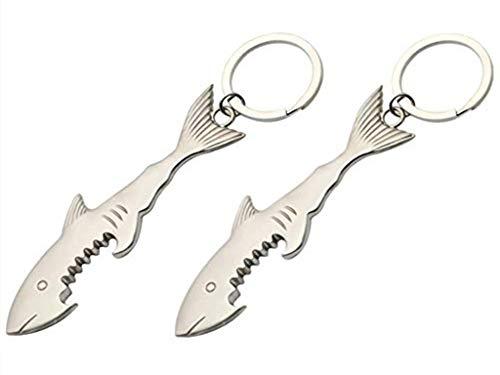 VPlus 2 Stücke Shark Shaped Schlüsselanhänger Flaschenöffner Bier Opener Kreative Charme Schlüsselanhänger Für Männer und Frauen Geschenk