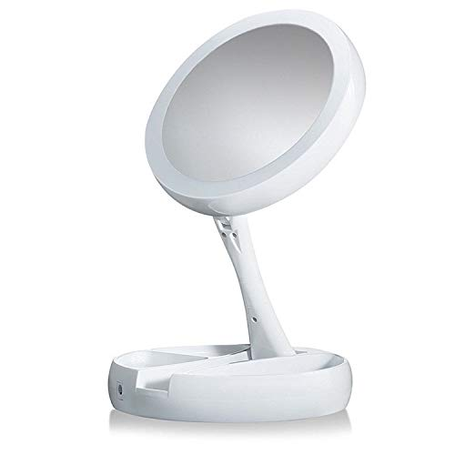 Lighted Makeup Mirror,Double Sided 10X Magnifying Mirror,Vanity Mirror with Lights,Smart Design with Brightness$Angle&Height Adjustability,Folding Compact Mirror,LED Mirror for Travel