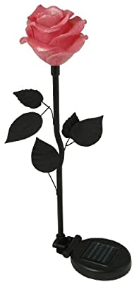 Moonrays Solar Powered Flower Light, Rose Fixture