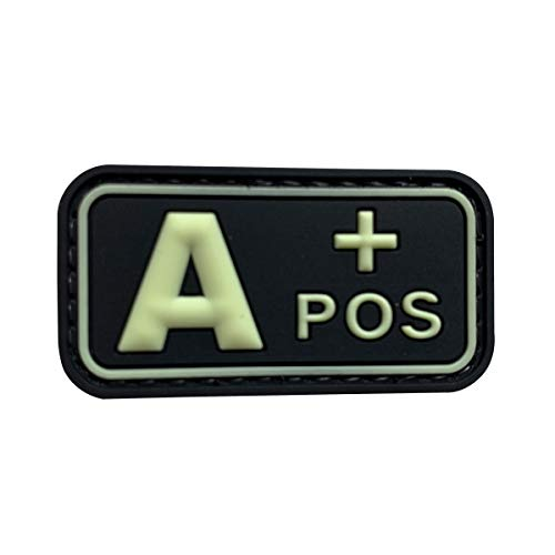 uuKen PVC Rubber Medic EMT EMS Rescue 5x2.6cm Glow A+ A POS Positive Blood Type Group Identifier Tab 3D Tactical Morale Patch with Hook Fastener Backing (GITD, 5x2.6cm)