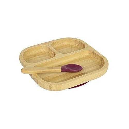 BIOZOYG Juego de Platos de bambú Cuadrados I Plato con Ventosa y Cuchara - Certificado FSC I Platos Madera de bambú p. niños - Plato y Cuenco para niños I vajilla bambú para bebés Cuadrada Rojo
