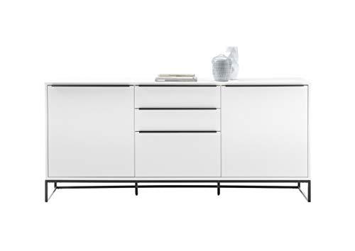 Robas Lund Sideboard weiß matt, Wohnzimmerschrank mit Metallkufen Gestell, BxHxT 184x85x40 cm