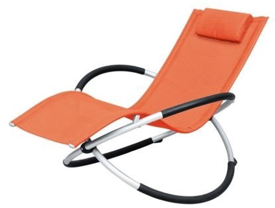 重々しい評論家処分したアウトドア!椅子 折りたたみ幅約25cm!憧れのロッキング チェアー バーベキュー ベランダ海 プール に! オレンジ