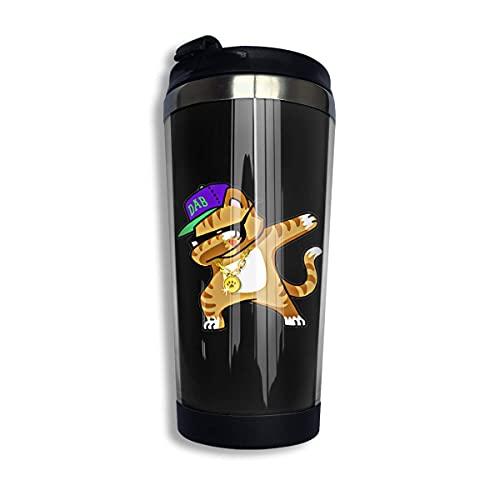 Coffee Mug,Funny Dabbing Cat Double Wall Tea Cup,Creative Stainless Steel Tea Mugs with Sealing Lid 13.5oz