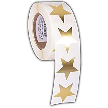 1.5  Star Adhesive Label Stickers 500 Stickers per Roll,1-1/2 Inch for Teachers Parents and Kids - Made in The USA  Gold FOIL