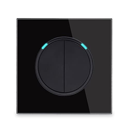 HLY-CASE Panel de Vidrio Templado 2 Gang 1 Way Random Haga Clic en el Interruptor de Encendido/Apagado de la Pared de Encendido/Apagado con la luz de la luz de Fondo Azul R11 Diseño Elegante