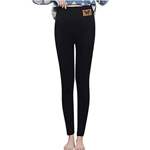 Yokbeer Leggings de Lana de Cachemira Súper Gruesos de Invierno para Mujeres con Medias Térmicas Cálidas de Cintura Alta de Talla Grande (Color : A, Size : L)