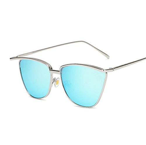 WYJW Modieuze Zonnebril Party Stijl Oogkat Unisex met Frame Metalen Zonnebril voor Meisje en Zonnescherm Dames [Zwart, Geel, Blauw, Zilver, Poeder] F6