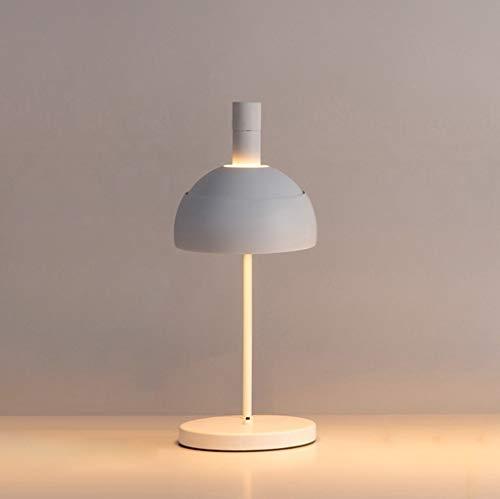 CENPEN Lámparas de Mesa, escandinava Moderna Simple lámpara de Hierro, la Sala Den Dormitorio lámpara de cabecera, Negro luz de la Noche de Lectura (Color : White)