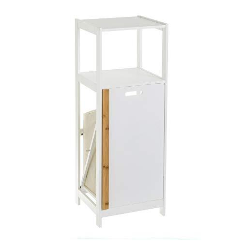 Estantería con cesto para Ropa con 2 estantes de bambú MDF nórdica Blanca de 36x33x98 cm - LOLAhome