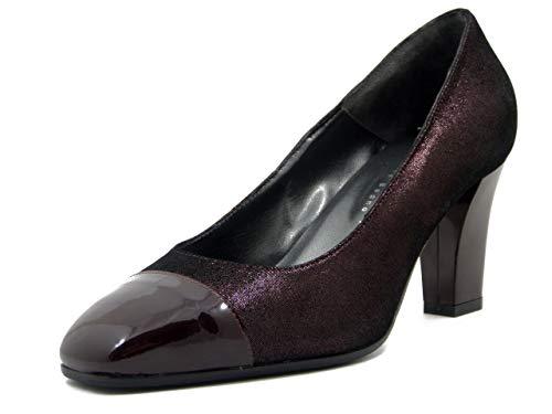 Vernissage, Schuhe für Damen, bequem, aus Leder, Rot, Bordeauxrot, Mittelabsatz, 7 cm, bequeme Pflanze, Violett - Aubergine - Größe: 37 EU