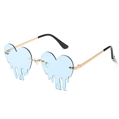 Gafas De Sol Gafas De Sol Sin Montura con Corazón Único para Mujer, Rojo, Azul, con Forma De Lágrimas, Gafas De Sol para Mujer, Gafas Steampunk Vintage, Uv400 C4, Dorado-Azul Claro