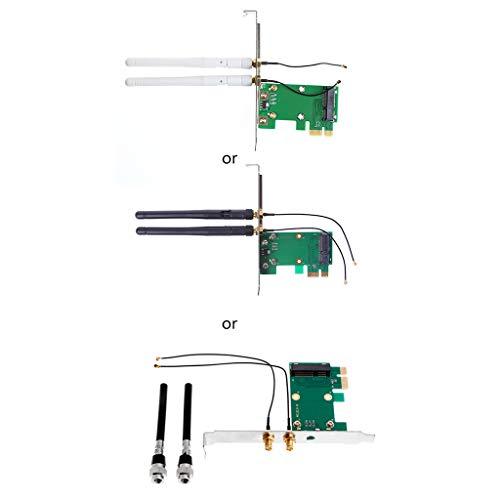ERUYN ワイヤレスWifiネットワークカードMiniPci-E to Pci-E1Xデスクトップアダプター+2アンテナ、緑