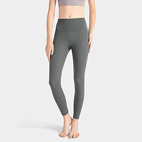 ArcherWlh Leggings Sexy,The Same Yoga Pants Europe and The United States Cross-Border High Waist Hips no 尴尬 launched Slimming Running Fitness Sports Pants-Metal Gray_S