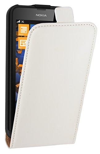 mumbi Echt Leder Flip Case kompatibel mit Nokia Lumia 630/635 Hülle Leder Tasche Case Wallet, Weiss