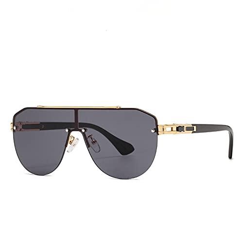 FENGHUAN Gafas de sol con montura grande de diseñador sin montura ovaladasclásicas con lentesgraduadas, gafas de sol Vintage para mujer C2