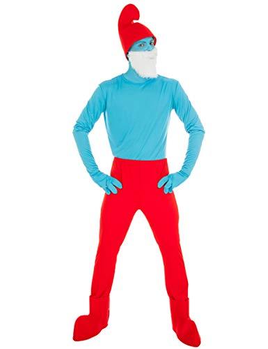 Generique - Die Schlümpfe-Papa Schlumpf Kostüm für Erwachsene blau-rot XL