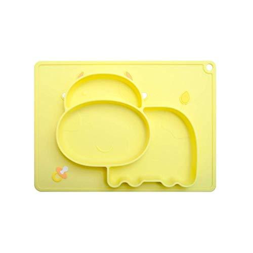 Platos de 3 colores con ventosa Placa de silicona para bebé de dibujos animados Bandeja de alimentación integrada Cuencos con ventosa Antideslizante Vajilla para niños Platos Bandeja Plato